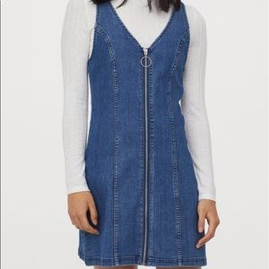 H&M divided denim zip dress
